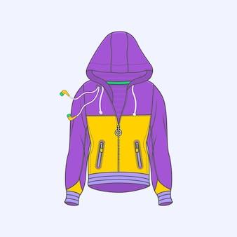 Hoodie для мужчин символ простой значок линии на фоне
