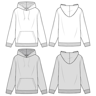 Hoodie мода плоский эскиз шаблона
