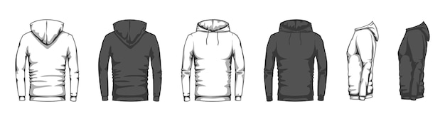 Hoodies in black and white
