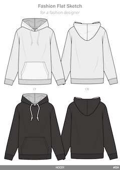 Hoody fashion flat technical drawing template