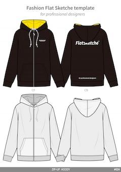 Hoody fashion flat technical drawing template
