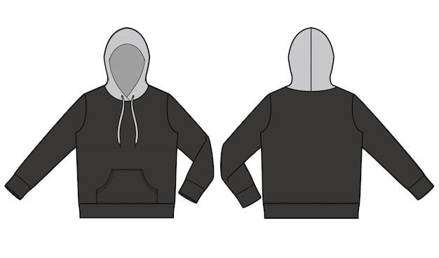 Hoody fashion flat технический чертежный шаблон