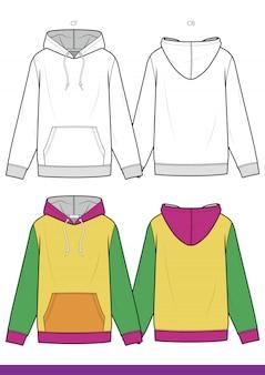 Hoody fashion плоский технический рисунок вектор шаблон