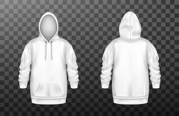 Hoody, white sweatshirt  front and back set