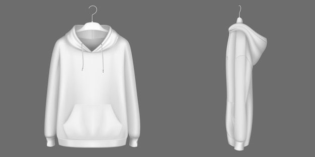 Hoody, white sweatshirt on hanger mock up front