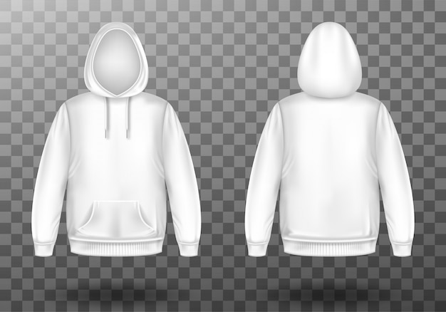 Hoody, white sweatshirt mock up front and back set