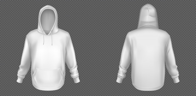 Hoody, white sweatshirt mock up front and back set Free Vector