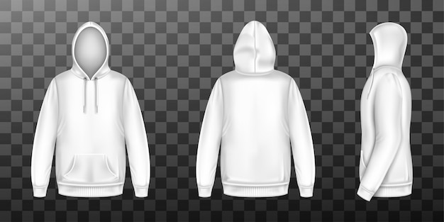 Hoody white sweatshirt mock up front side back set Free Vector