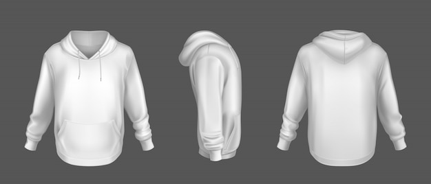 Hoody white sweatshirt mock up front side back set