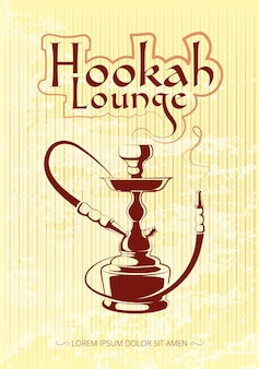 Hookah bar vector poster. tobacco and relax, turkish or arabic illustration