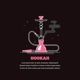 Hookah icon isolated on black background. smoking shisha concept banner. flat style line art illustration for lounge bar and hookah menu
