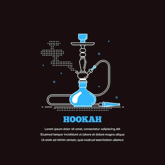 물 담 뱃 대 아이콘 검은 배경에 고립입니다. 흡연 shisha 개념 배너입니다. 라운지 바 및 물 담뱃대 메뉴에 대한 평면 스타일 라인 아트 그림