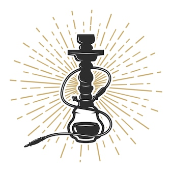 Hookah illustration on white background.  element for logo, label, emblem, sign.  illustration