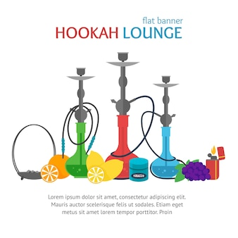 Hookah lounge banner traditional smoking culture.