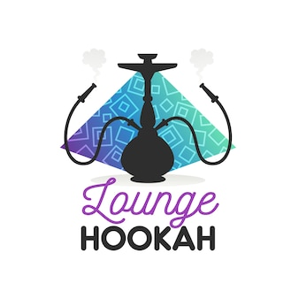 Hookah lounge bar or shisha smoking club icon