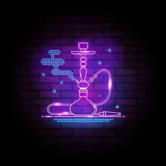 어두운 벽돌 벽 배경에 물담뱃대 네온 사인 밤 물담뱃대 디자인 템플릿 라이트 배너