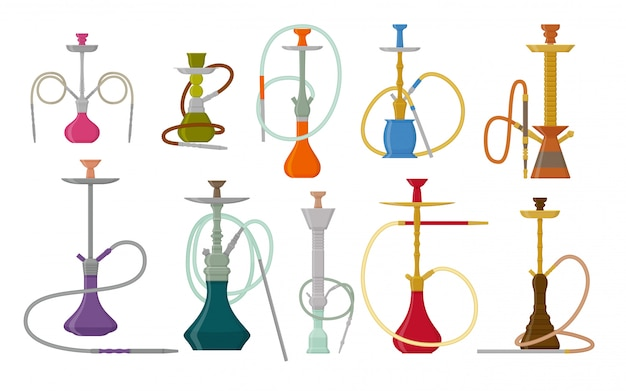 Hookah  set with pipe for smoking tobacco and shisha. collection  on white background.  illustration