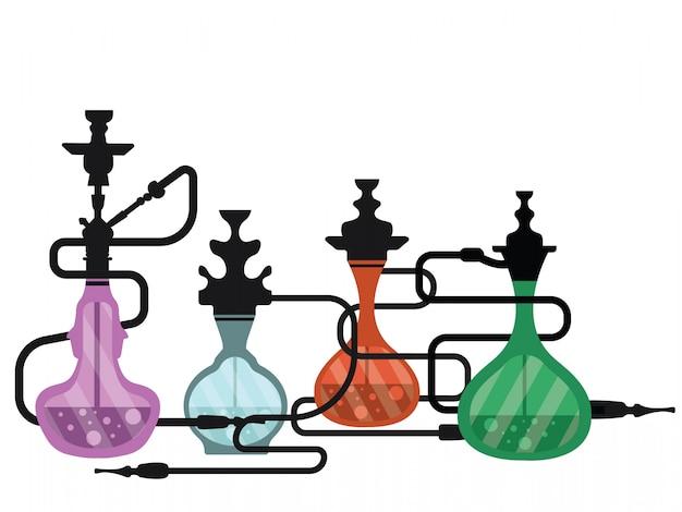 Hookah shisha smoking pipe icons