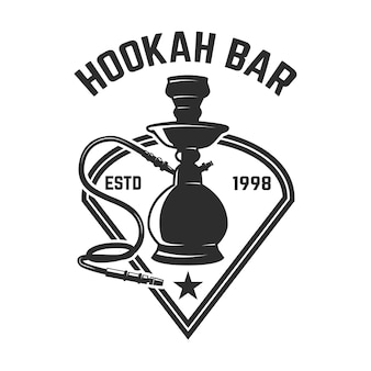 Hookah shop. emblem template with hookah. design element for logo, label, sign.