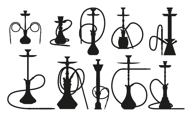 Hookah silhouette set with pipe for smoking tobacco and shisha