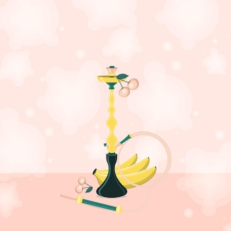 Hookah with banana and cherry with smoke.  flat vector illustration.