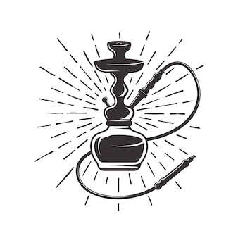 Hookah with rays illustration in retro style isolated on white background