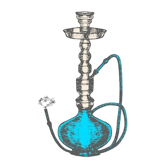 Hookah with smoking pipe hand draw sketch.