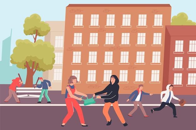 路上で街の通行人からバッグを盗む十代の若者たちとフーリガンフラットイラスト