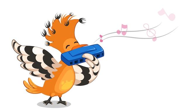 Hoopoe bird playing mouth organ cartoon vector illustration