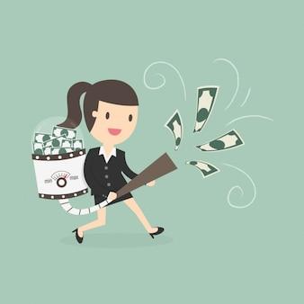 ビジネスの女性はお金をhoovering