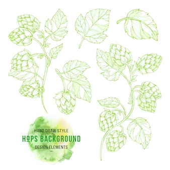 Hop on a branch with leaves in engraving style background