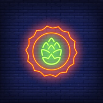 Hop emblem on brick background. neon style illustration. beer shop, home brew, tavern.