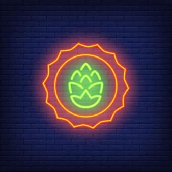 Hop emblem on brick background. Neon style illustration. Beer shop, home brew, tavern.