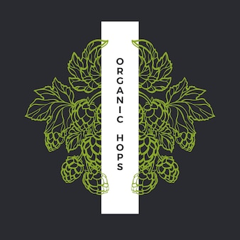 Гравюра хмеля природный узор натуральный лист и зеленая шишка рамка для ботанического искусства