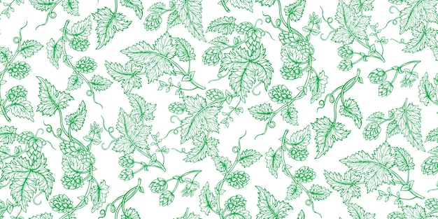 Hop plant branch hand drawn green sketch set. hops with leaves and cones angular herb design drawn engraving style. sketches for beer packing design logo, label, emblem, packing, pattern