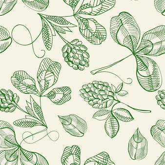 Hop seamless pattern doodle with repeating beautiful berries on the white  hand drawing