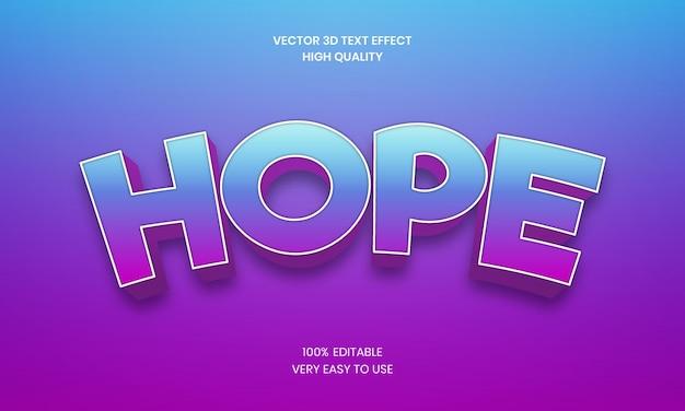 Hope 3d editable text effect premium vector