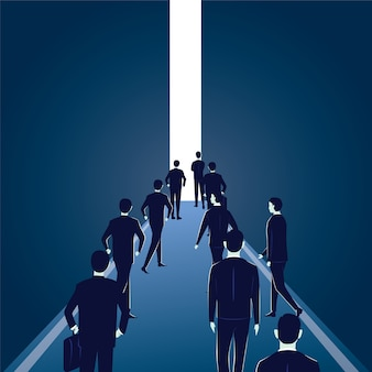 Hope concept. business people walks forward to bright light