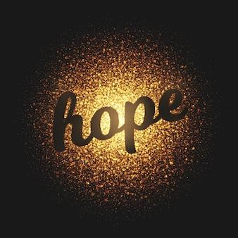 Hope golden particles vector lettering