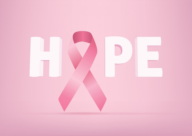 Hope lettering with pink ribbon, breast cancer awareness.