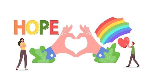 Надежда, концепция любви. крошечные мужские и женские персонажи на радуге и огромных руках показывают символ сердца. благотворительность, доброта, волонтерское сообщество, поддержка, всемирный день мира. мультфильм люди векторные иллюстрации