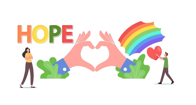 Hope, love concept. tiny male and female characters at rainbow and huge hands show heart symbol. charity, kindness, volunteering community, support, world peace day. cartoon people vector illustration