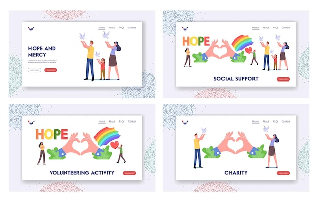 Hope, love and peace landing page template set. tiny family characters let go white doves flying in air, rainbow and huge hands show heart symbol. charity, kindness. cartoon people vector illustration