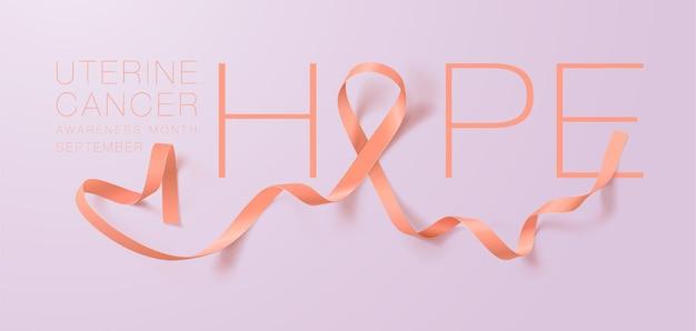 子宮がん啓発書道ポスターデザインリアルなピーチリボンを願っています