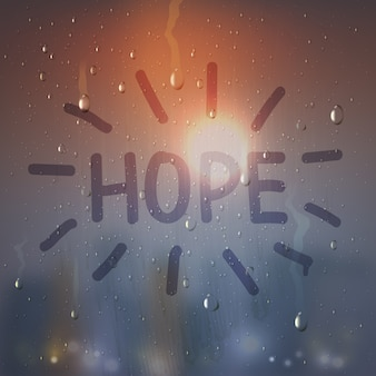 Hope word on misted glass composition