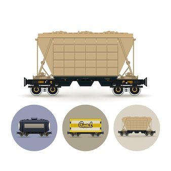 Hopper car for mass transit fertilizer, cement, grain and other bulk cargo. set of three round colorful icons , railway car the tank, railway wagon , hopper car for mass transit bulk cargo, vector