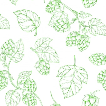 Hops beer seamless pattern