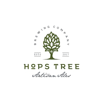 Hops and tree for vintage beer brewery logo