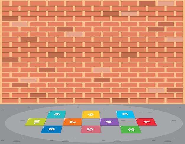 Hopscotch 그리드 벽돌 벽 장면