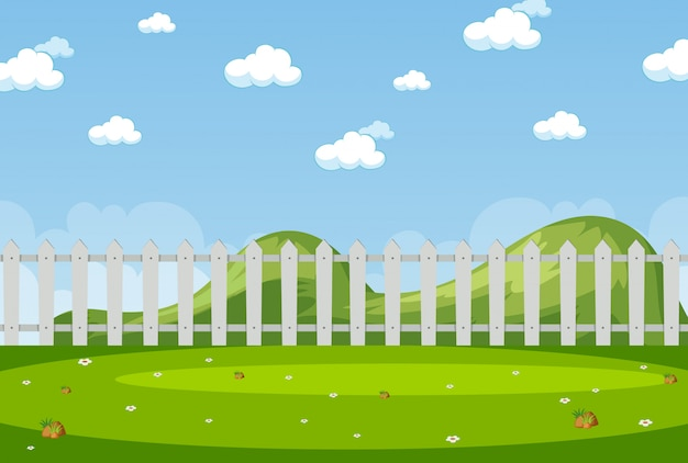 Horizon nature scene or landscape countryside with fence in the park and blank sky at daytime